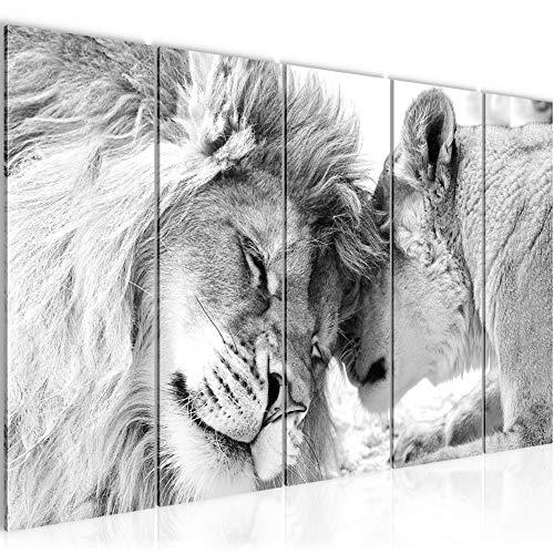 Bilder Löwen Liebe Wandbild 200 x 80 cm - 5 Teilig Vlies - Leinwand Bild XXL Format Wandbilder Wohnzimmer Wohnung Deko Kunstdrucke Grau - MADE IN GERMANY - Fertig zum Aufhängen 002155c