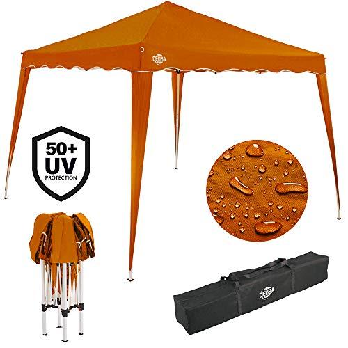 Deuba® Pavillon Capri 3x3m wasserdicht Pop-Up inkl. Tasche UV-Schutz 50+ Faltpavillon Gartenzelt Partyzelt Orange