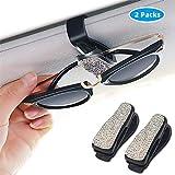 finefun Glasses Holders for Car Sun Visor 2 Pack, Bling Bling Diamond Sunglasses Eyeglasses Mount with Ticket Card Clip (White)