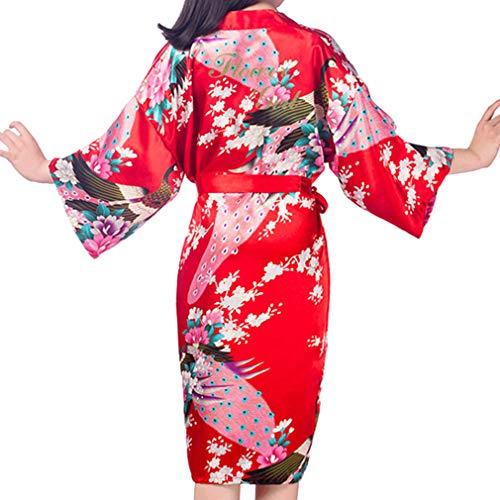 Kunfang Kids Robe Satin Kimono Bademäntel Blumenmädchen Kleid Silk Bademantel Nachthemd Pfau Robe