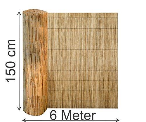 EXCOLO Sichtschutz 150 x 600 cm lang aus Schilfrohr Wind-Schutz Schilfmatte Schilfrohrmatte