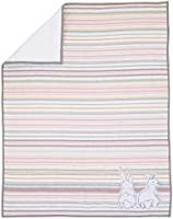 ED Ellen DeGeneres Cotton Tail - Soft 100% Cotton Rose, Grey, Aqua, Ivory Ribbon Stripe Nursery Crib Quilt with...