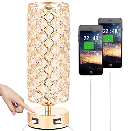 Touch Control USB Crystal Table Lamp, Dimmable Nightstand Lamp with Dual USB Charging Ports, 3-way USB Gold Crystal Lamp, Bedside Desk Light for Bedroom Living Room Entryway Home Office, Bulb Included