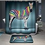 Beddingleer Duschvorhang mit Digitaldruck, wasserdicht & schimmelresistent, Größe 180 x 180 cm, Zebra-Stoff, Badezimmer-Duschvorhang mit Haken, 180 x 180 cm
