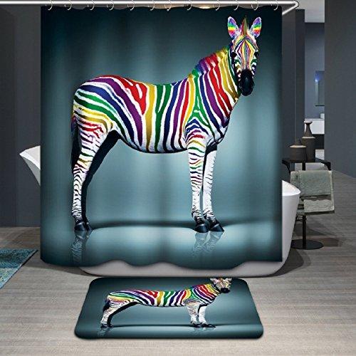 Beddingleer Duschvorhang mit Digitaldruck, wasserdicht und schimmelresistent, Größe 180 x 180 cm, Zebra-Stoff, Badezimmer-Duschvorhang mit Haken, 180 x 180 cm
