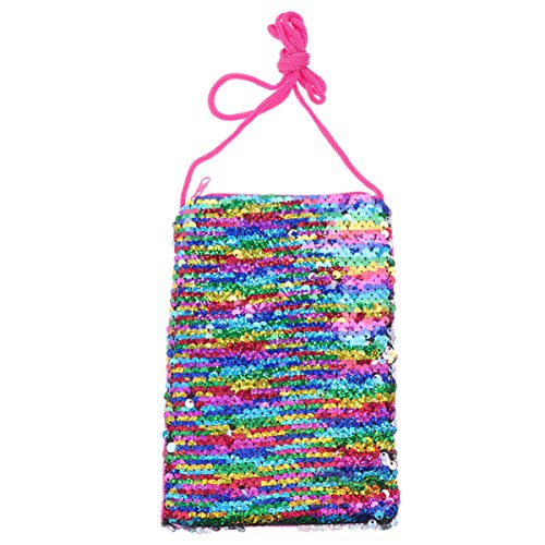 Fenical Phone Purse Sequin Meimaid Crossbody Coin Purse Mini Glitter Messenger Bag Flippy Handbag (Rainbow Silver)
