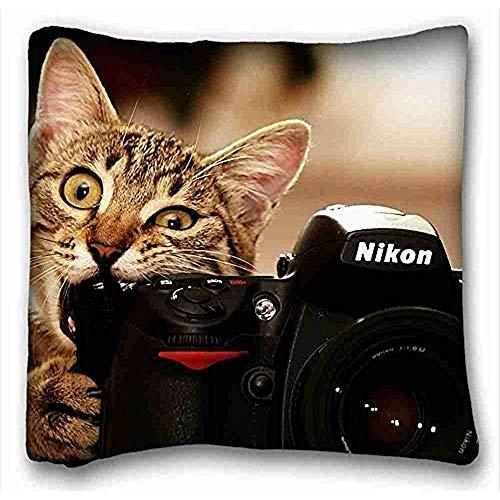 hose233 zachte kussenhoes hoes (Animals Cat Nikon Camera Fotograaf Nikon D700 Lens Animals) zachte kussenhoes cover 16x16 Inch (One Sides) kussensloop met rits geschikt voor twee-bed Pc-Yellow-601