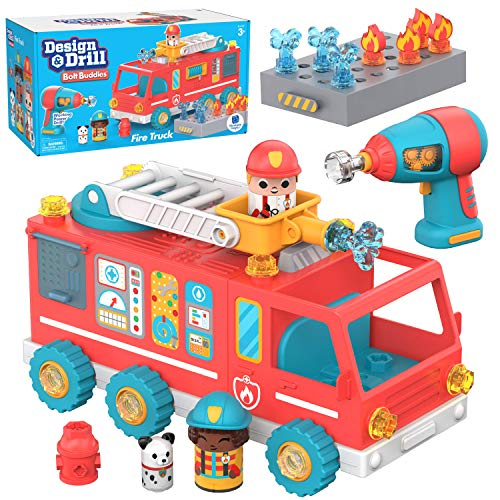 Educational Insights Design & Drill Bolt Buddies Fire Truck: Easter Toy, Fine Motor Skills & STEM Toy, Perfect Drill Toy for 3+