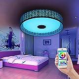 Lámpara LED circular con forma de Nest Bird's Música, lámpara de techo con Bluetooth, altavoz para música, aplicación para smartphone, lámpara multicolor, blanco + blanco cálido + RGB colorido