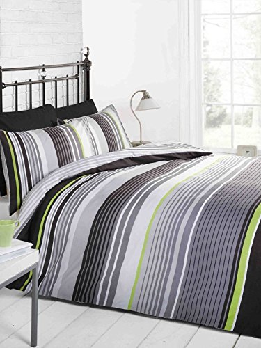 Signature Striped Quilt Duvet Cover and Pillowcase Bedding Bed Set, Monochrome, Single