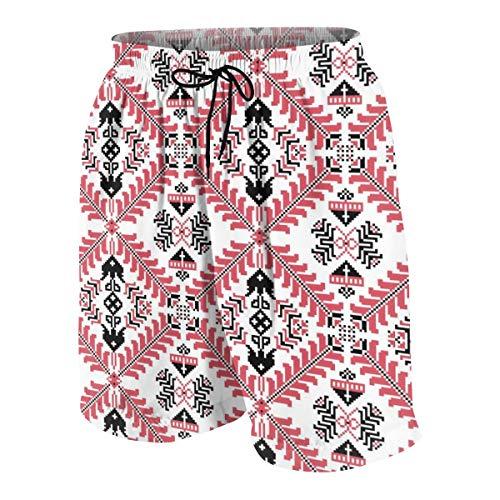 sanlianwangluokeji Hungarian Pixel Pattern Men's Swim Trunks Summer Teen Beach Pants Quick Dry Board Shorts Bathing Suit