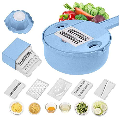 TQMB-A Vegetable Slicer Multipurpose Grater Vegetable Cutter and Shredder with Guard and Egg White Separator with Drain Basket - Best Veggie Cheese Shredder Grater Set,Blue