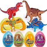 ThinkMax 4 Piezas Huevos de Pascua llenos de Juguetes de Dinosaurios transformadores para la Caza de Huevos de Pascua, Regalo de Pascua para niños