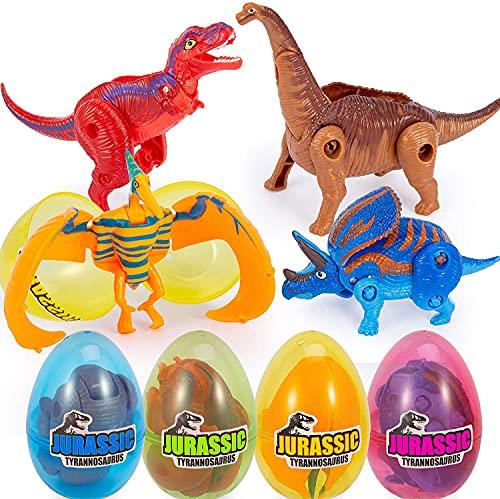 ThinkMax 4 Pezzi Uova di Pasqua Piene di Giocattoli trasformabili di Dinosauro per la Caccia alle Uova di Pasqua, Regalo di Pasqua per Bambini