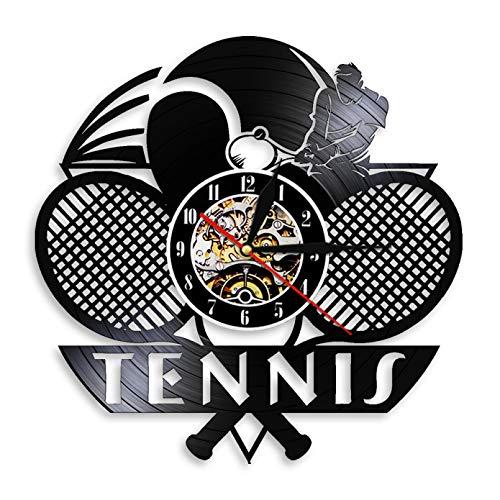 SSCLOCK Tenis Logo Raqueta cancha Pelota decoración Reloj de Pared Juego de Tenis Grand Slam Disco de Vinilo Reloj de Pared Tenis Jugador Regalos con LED