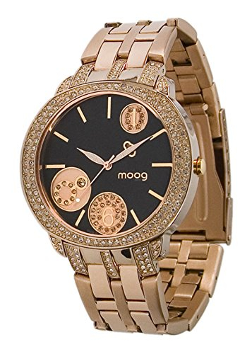Moog Paris G-Power Montre Femme avec Cadran Noir, Eléments Swarovski, Bracelet Rose Gold en Acier Inoxydable - M45024-003