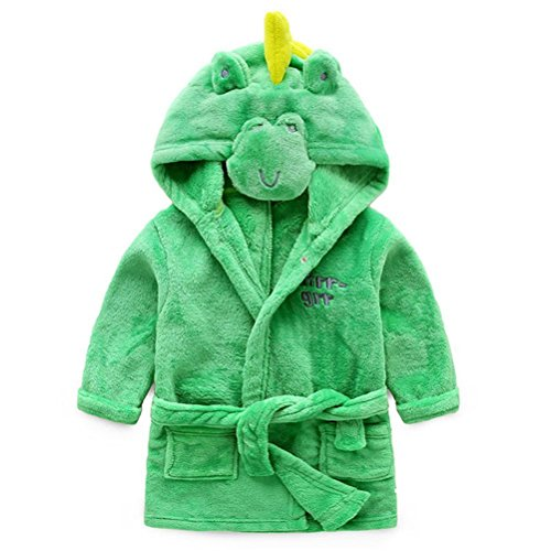 Baby Coral Fleece Bathrobe Toddler Kids Hooded Terry Robe Cute Pajamas Sleepwear Bath Wrap