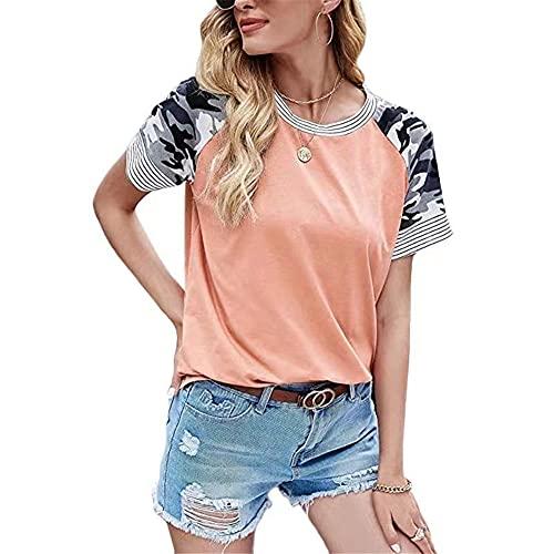 Camiseta de Mujer Tops de Manga Corta Camiseta a Juego de Colores Informal con Estampado Superior para Mujer Camiseta de Verano Jersey con Cuello Redondo Estampado Top Casual Blusa de Moda Superior