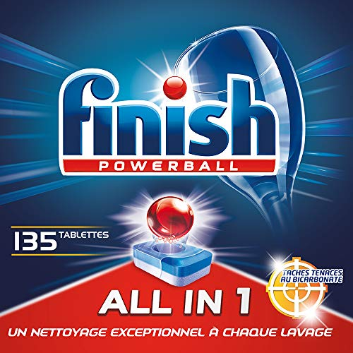 Finish Pastilles Lave-Vaisselle Powerball All in One Max Taches Tenaces au Bicarbonate - 135 Tablettes Lave-Vaisselle