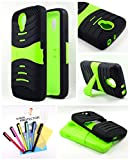 Thousand Eight(TM) For LG Volt LS740 - Heavy Duty Armor Stand Combo case / Hybrid Kickstand Case with Silicone Armor Skin + [FREE LCD Screen Protector Shield(Ultra Clear)+Touch Screen Stylus] (S green)