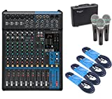 Great bundle that includes the Yamaha MG12XU 12-Input 4-Bus Mixer with Effects, 4 x 20 Foot XLR Cables, and Dynamic Supercardioid Handheld Mic (3-Pack) 12-Channel mixer with USB and SPX digital effects Featuring studio-grade discrete class-A D-PRE pr...