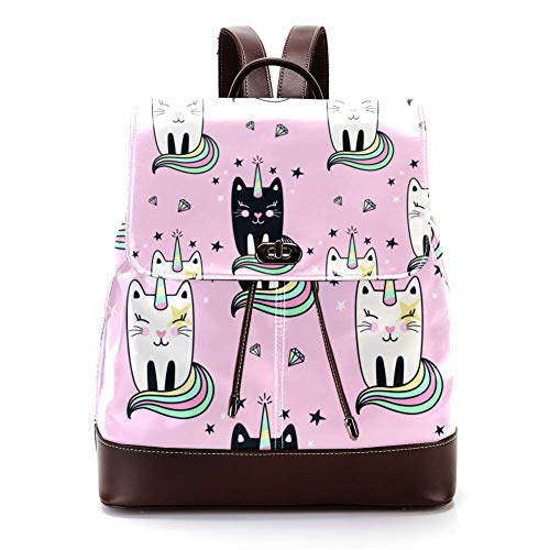 Casual PU Leather Backpack for Men, Women's Shoulder Bag Students Daypack for Travel Business College Cute Caticorns