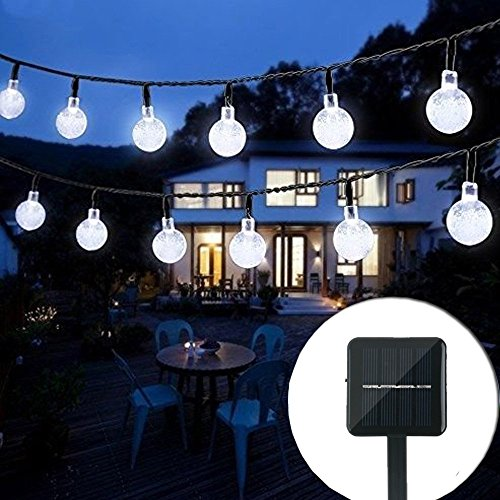 Solar String Lights Powered Outdoor 50 Led 31Ft Crystal Globe Lights with 8 Lighting Modes, Waterproof Solar Powered Patio Lights for Garden Yard Porch Wedding Party Decor(White)