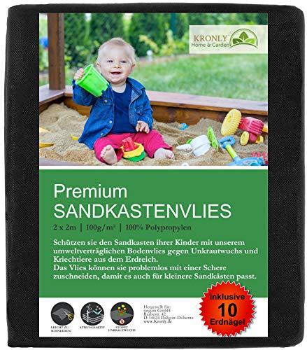 Sandkastenvlies 2x2 m mit 10 Erdankern - Unkrautvlies für den Kinder Sandkasten - Sandkastenunterlage wasserdurchlässig reißfeste Sandkastenfolie umweltverträglich