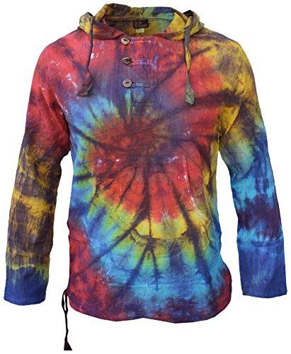 Batik-Kapuzenpullover aus Baumwolle von Little Kathmandu, leichter Pullover für den Sommer, Hippie, psychedelisch, unkonventionell, Großvater Gr. XXXL, Rainbow Tie Dye Front Spiral