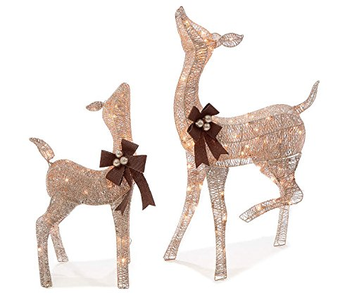 BL Pre-lit Glittering Champagne 38 Inch Doe and 28 Inch Fawn - 2-Piece Christmas Deer Set - 105 Clear Lights