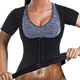 Yokbeer Traje de Efecto Sauna para Mujer Fitness Cintura Entrenador de Cintura Camisa de Neopreno Top para Entrenamiento Deportivo Corsé Cuerpo Caliente Cuerpo Moldeador Ajustable Efecto de Sudor