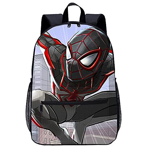 Mochila 3D Niñas Mochila -El hombre araña de Marvel Miles Morales-Adecuado para: estudiantes de primaria y secundaria, la mejor opción para viajes al aire libre-Tamaño: 45x30x15 cm / 17 pulgadas-Moc