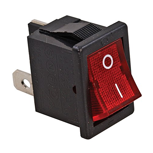 Jameco Valuepro R13-73B-R-02 Quick Connect Rocker Switch, On-Off, SPST, 10 Amp, 250 Volt, AC Straight, 0.83