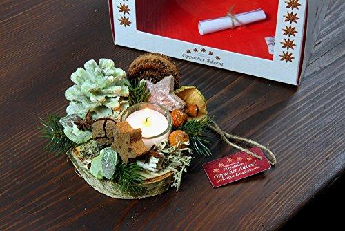 Oppacher avvento 3000137–0005–Tavolo gesteck Deluxe con Confezione Regalo, centrotavola per Avvento candeliere per Candele, pigne/Rami/Frutti, Verde Light, Diametro Circa 12–15cm