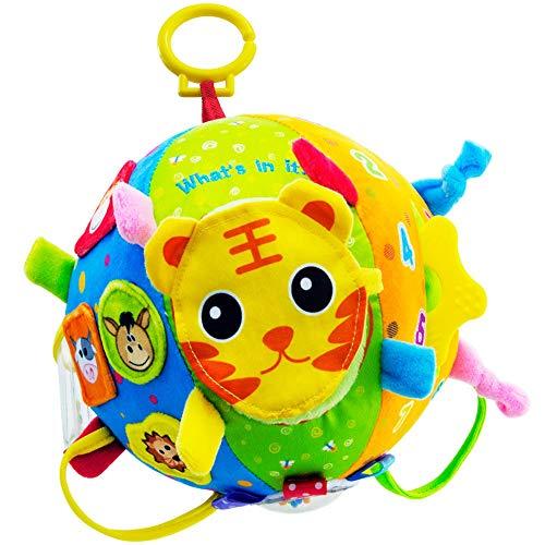 teytoy Softball weich Stoffball Plüschball Aufhängen Spielball mit Rassel, Löwe Tiger Tierbild – Baby Spielzeug ab 0 Monate für Babys und Kleinkinder, Bunt