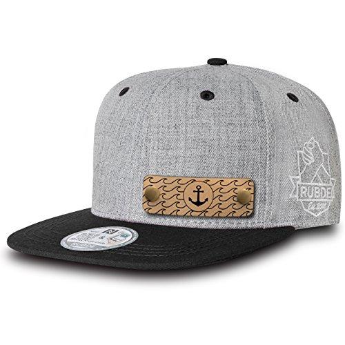 RUBDE Cap2 | Individuelle Snapback Cap Basecap Kappe mit Lederpatch, NFC-Sticker und QR-Code Größen - personalisierbar | Unisex - Herren Damen Kinder Kids | Carbon Schwarz M