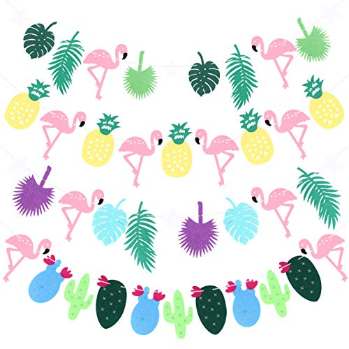 Amosfun Hawaïaanse Party Banners Flamingo ananas Cactus slinger opknoping Decor 4 stks