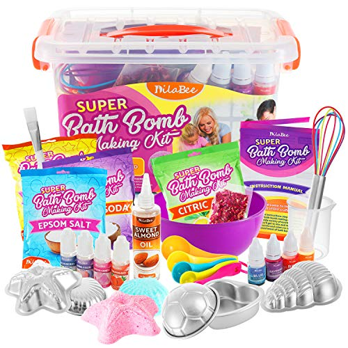 Premium DIY Bath Bomb Making Kit - Super Jumbo Bath Bombs Ingredients and Supplies Set - Safety Tested & Certified! Non-Toxic Accessories & Supplies - Instructions Included – for Kids and Adults