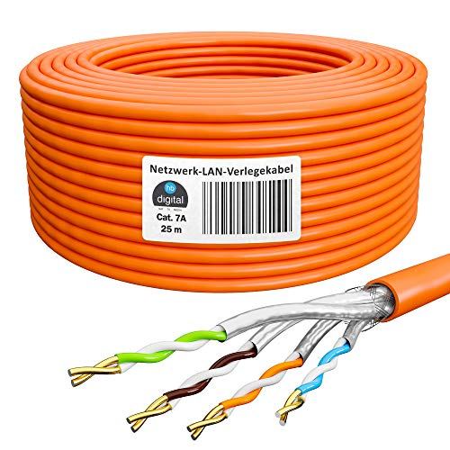 HB-DIGITAL 25m Cavo di rete Cavo LAN Cavo di installazione Cat 7A AWG 23/1 Arancione Cavo Ethernet Dati Cat 7 Rame Professionale S/FTP PIMF LSZH Senza alogeni Conformità RoHS 10 Gbit 1000 MHz