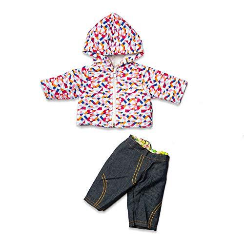 Hdsght Ropa de mueca para muecas americanas de 45,72 cm, accesorios de disfraz, chaqueta con capucha y pantalones vaqueros
