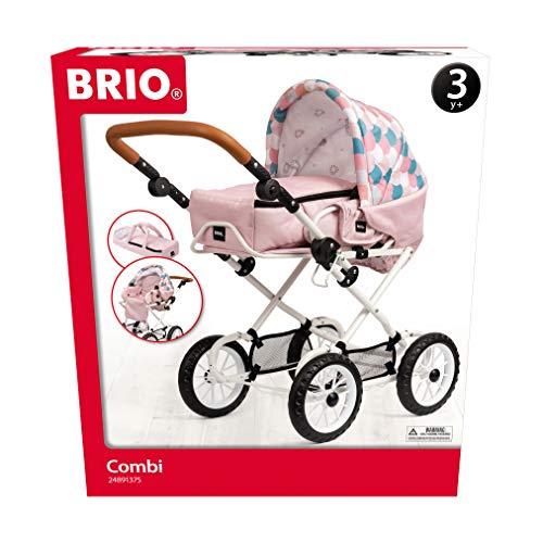 BRIO 00300 - Puppenwagen Combi, Soft Pink mit Tropfenmuster