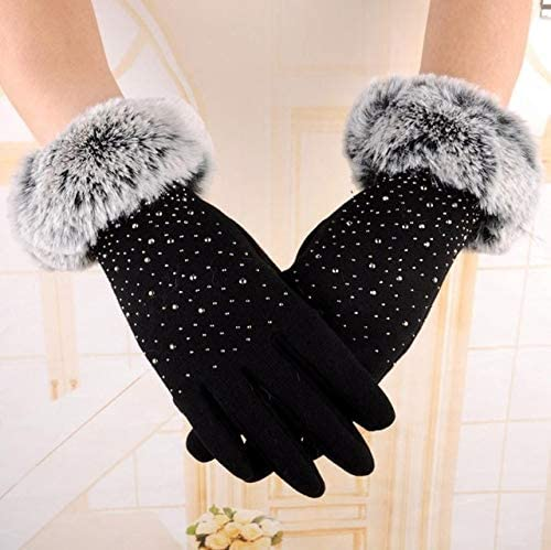 #5 Fashion Womens Fashion Winter Outdoor Sport Warm Gloves - (Color: Black, Gloves Size: Free Size)