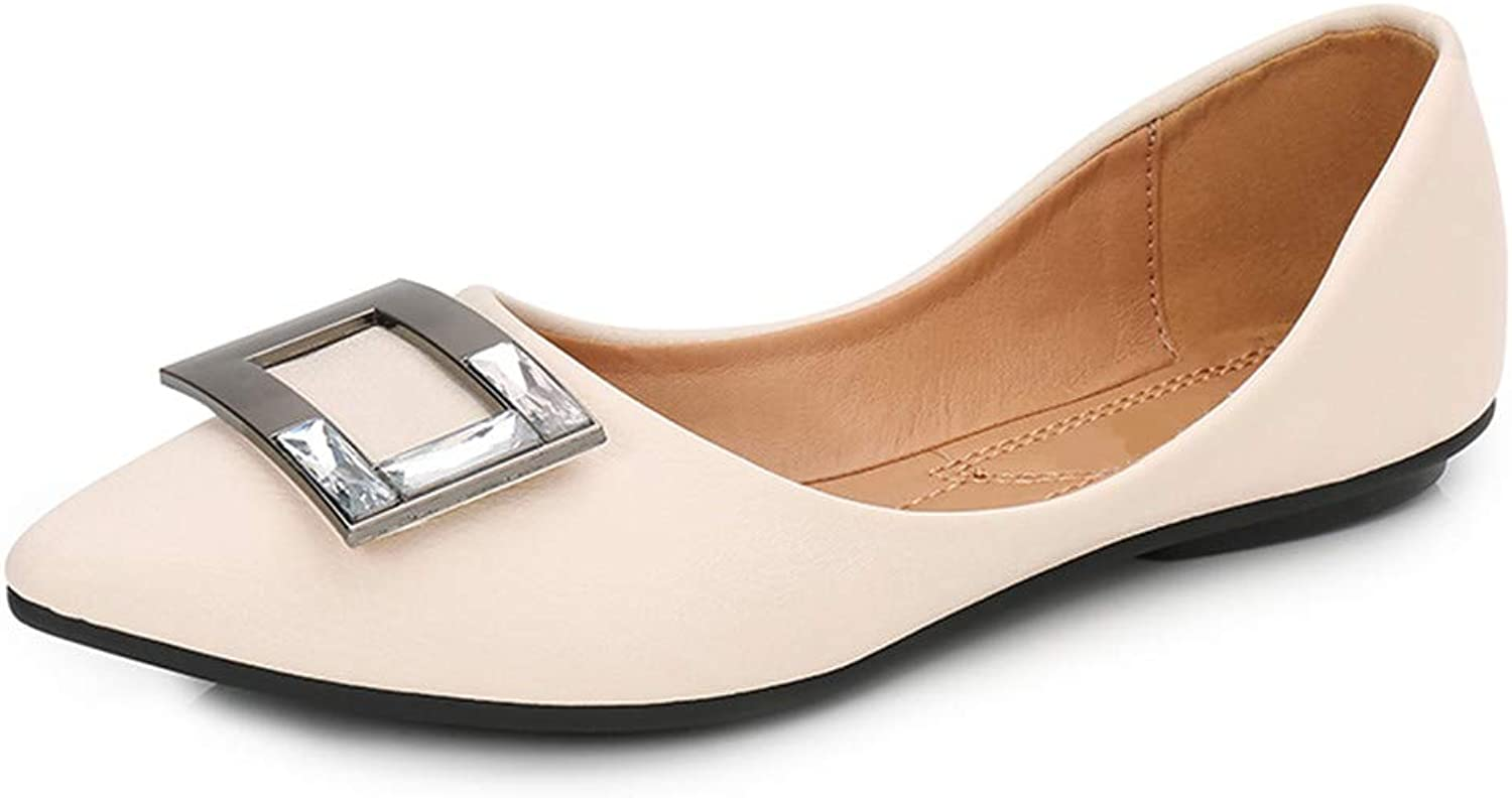 SAMSAY Women Pointy Toe Ballet Flat Soft Ballerina Low Heels Flats shoes Square Metal Buckle