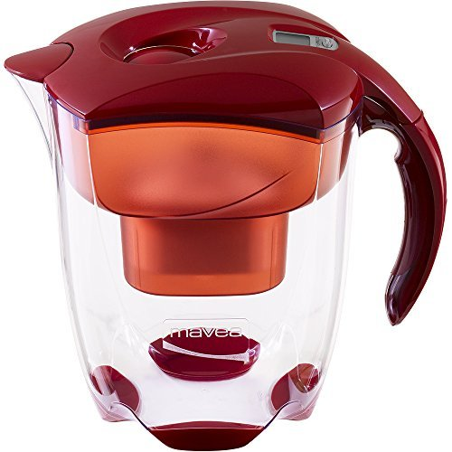MAVEA 1005722 Elemaris XL 9-Cup Water Filtration Pitcher, Ruby Red by...