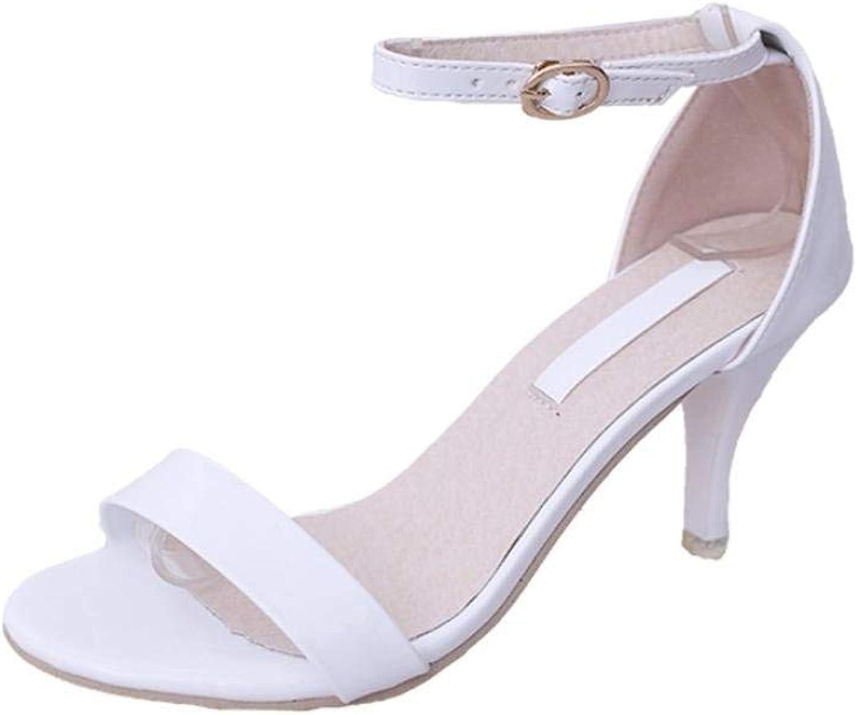 JaHGDU Fashion Women Sandals Summer Boom shoes Middle Heel Sandals High Heels Strappy Button Stiletto Sandals Pump Party Dress shoes