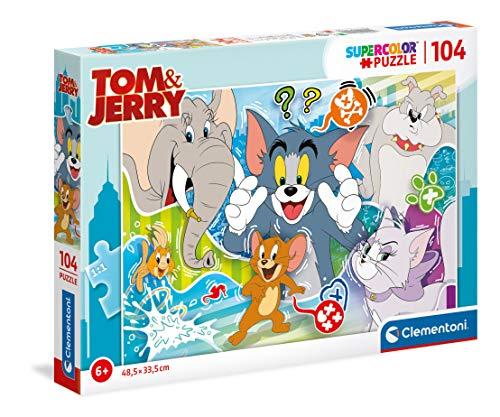 Clementoni Supercolor Tom and Jerry-104 pezzi-Made in Italy, puzzle bambini 6 anni+, Multicolore, 27518