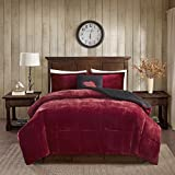 Woolrich Alton Plush to Sherpa Down Alternative Comforter Set Red/Black Full/Queen