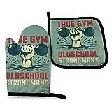 Hdadwy True Gym Oldschool Strongmans y mancuernas, resistentes al calor, reutilizables, para horno, guantes y agarraderas para cocina, barbacoa, cocina, transpirables, resistentes al agua, antidesliza