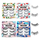 JIMIRE Fake Eyelashes 12 Pairs False Eyelashes Multipack Reusable 4...