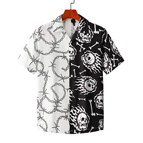 Camisa Estampada de Manga Corta para Hombres y Mujeres de Playa de Verano Europea y Americana Tendencia Casual Streetwear XXL